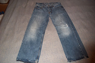 American Eagle AE Outfitters Low Loose Blue Jeans Mens size 26/28 Distressed