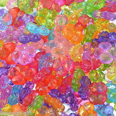 """200PCs Acrylic Spacer Beads Four Leaf Clover Mixed 12x12mm(4/8""""x4/8"""")"""