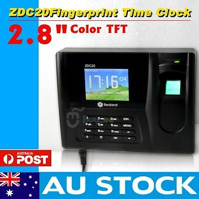 "New 2.8"" Color TFT Fingerprint Time Attendance Clock Employee Payroll Recorder"