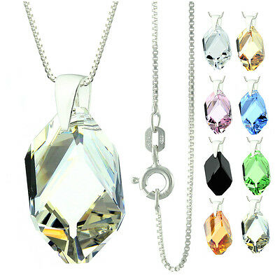 925 Sterling Silver Faceted Big Cubist Silver Shape Crystal Pendant Necklace