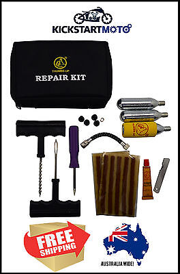 CO2 Tyre Tire Inflator Puncture Tubeless Repair Kit Motorcycle Motorbike Bike