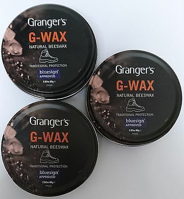 3x Grangers/Fabsil G-Wax Natural Beeswax Leather Boot/Shoe Polish Dubbin Proofer