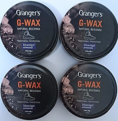 4x Grangers/Fabsil G-Wax Natural Beeswax Leather Boot/Shoe Polish Dubbin Proofer