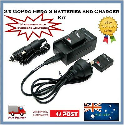 GoPro Hero 3+ / 3 Compatible Battery & Charger Set - Batteries (2) & AC Charger