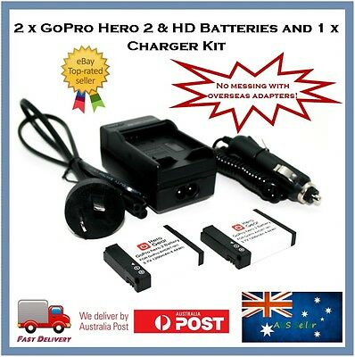 2 x GoPro Hero2 / 1 HD Batteries + Charger - Go Pro Hero 2 AHDBT-001 AHDBT-002