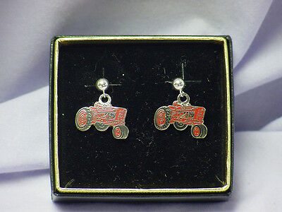IH International Harvester Tractor pierced earrings, NIB
