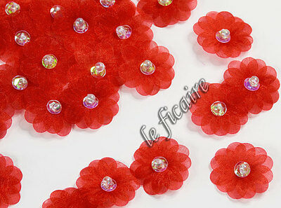"""1"""" Double Layer Organza Sequin Beaded Daisy Flower Appliques Trims x60 Red #1581"""