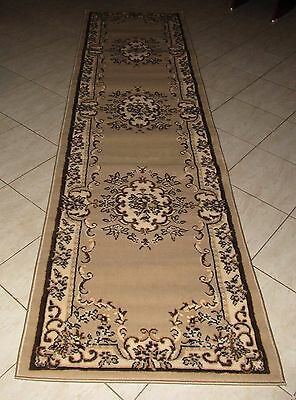 New Extra Long Beige Persian Design Floor Hallway Runner Rug 80X400Cm