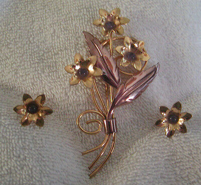 Gorgeous Vintage Two Tone Yellow and Rose Gold Purple Flower Brooch & Earrings