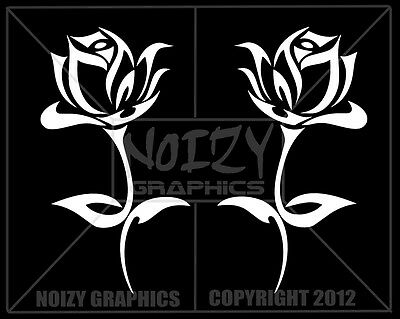 CUTE PRETTY VINYL CAR TRUCK WINDOW STICKER DECAL TRIBAL ROSE FLOWER PAIR