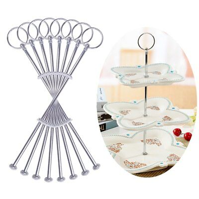 8 Sets 3 Tier Cake Plate Stand Handle Fittings silver for Tea Shop Room Hotel