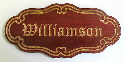 Personalized Deep Red Oak Old English Family Name Wedding Anniversary Sign