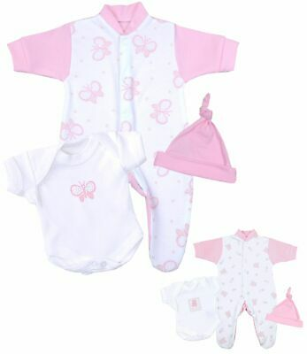 BabyPrem Premature Baby Girls Clothes Prem Preemie Sleepsuit Vest Hat Set