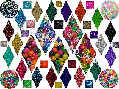 100 PONY BEADS DIFFERENT COLOURS 9x6mm Barrel Shape - BUY 3 FOR 2