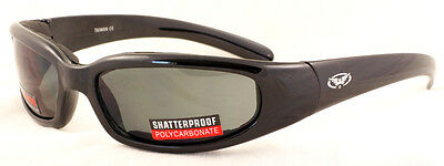 Padded shatterproof motorcycle glasses/wraparound biker sunglasses + Free pouch