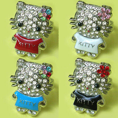 diamantes-hellokitty of flower open ring (many colors)
