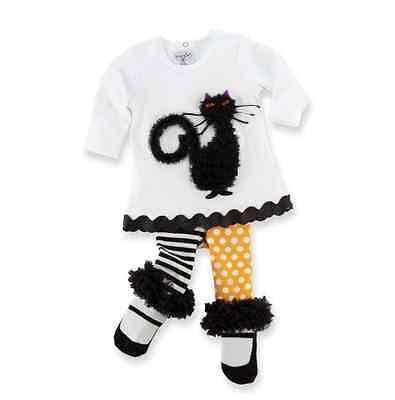 NWT Mud Pie HALLOWEEN Black Cat 2pc Outfit 0 3 6 9 12 M