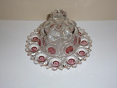 Vintage Elegant Clear Glass Dish with Domed Lid, Raised Button and Red Flashing