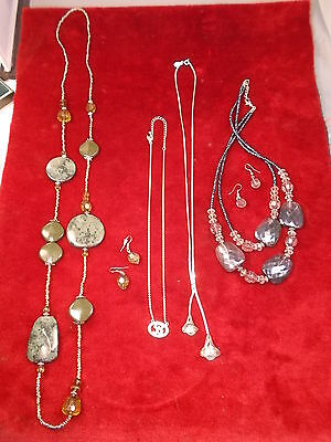 """ESTATE LOT #12 OF 28, 5 OLD VTG NECKLACES, + 2 MATCHING SETS OF EARRINGS, """"B"""""""