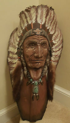 CHIEF JOHN RED HAWK Hand Paint Palm Frond By Joseph Thunderhorse NATIVE AMERICAN