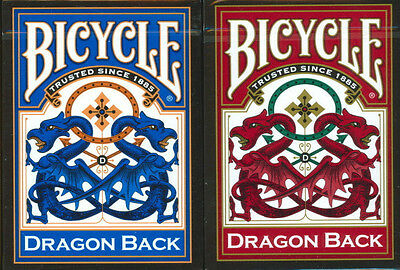2 Deck Red Blue DRAGON BACK Bicycle Playing cards Brand New