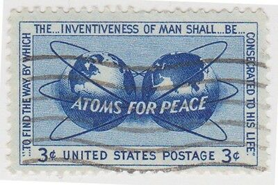 (USB60)1955 USA 3c blue atoms for peace ow1072