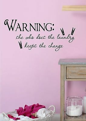 Laundry Room Warning Vinyl Wall Decal Bedroom Decor Lettering Art