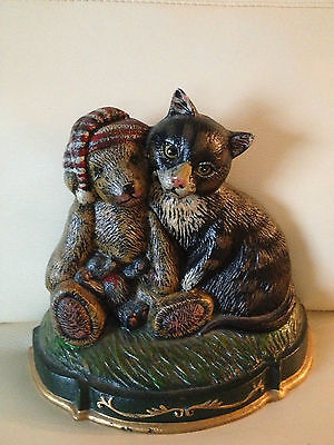 solid cast iron detailed kitty cat teddy bear ornate door stop bookend rare