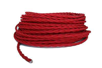 Twisted Red Cloth Covered Cord, 3 Conductor Antique Style Cloth Wire, Rayon Wire