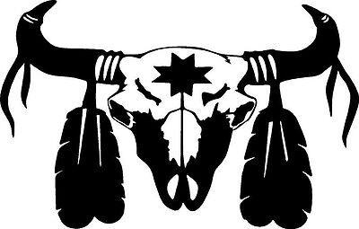 skull bull calf cow indian feather star rodeo rider  VINYL DECAL STICKER 398 +
