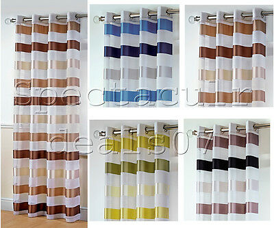 """Sterling Ready Made Voile Eyelet Ring Top Curtain Panels 55"""" x72"""" Brand New"""