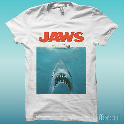 T-Shirt Jaws Shark Film Squalo Cover Bianco The Happiness Is Have My T-Shirt New