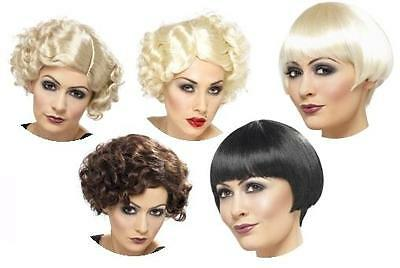 FRINGE FLAPPER WIG 1920s CURLY BOB HOLLYWOOD MARILYN MONROE STRAIGHT CURLY HAIR