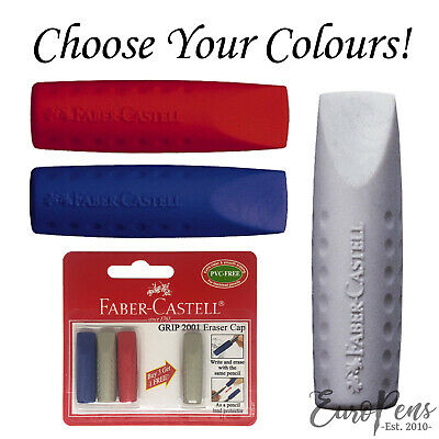 Faber Castell (Pack of 2) 2001 Eraser Cap Pencil Tops GREY / BLUE / RED (187001)
