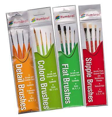 Humbrol Paint Brush Packs 4 Different Brushes in Each Pack Choose from List New