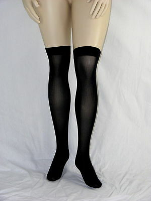 Knee high opaque stockings plus size-Black