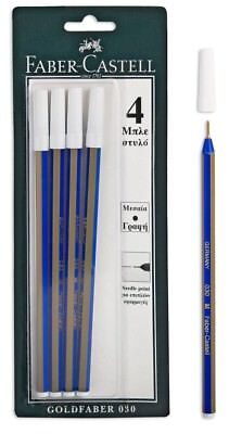 FABER-CASTELL GOLDFABER 030  NEEDLE POINT BLUE INK PEN 4pcs IN A BLISTER CARD
