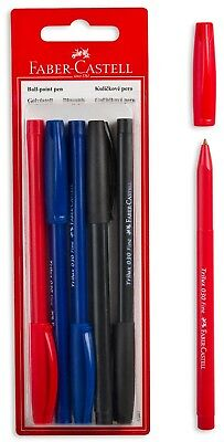FABER-CASTELL TRILUX 030 FINE BALL POINT BLUE BLACK RED INK PEN 5pcs IN BLISTER