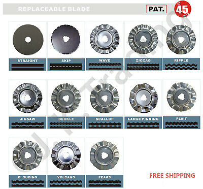 2 pcs of Replacement Blades for 45mm Rotary Cutter Many Patterns Suitable w Olfa