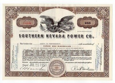 Southern Nevada Power Co. Stock Certificate