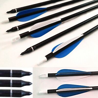 "32 "" Fibreglass arrows archery hunting steel field tips screw on/off  uk seller"