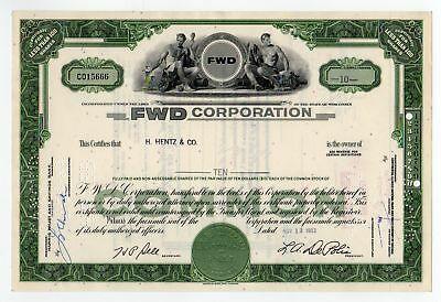 FWD (Four Wheel Drive) Corporation stock certificate