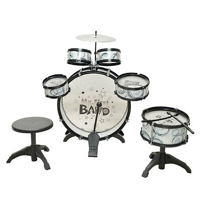 5 Piece Drum Set Kids Toy with Cymbals Stands Throne Black