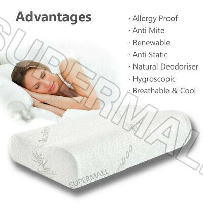 Memory Foam Bamboo Pillow Fabric Fibre Cover Vertebra Care Contour 70 x 40cm AU