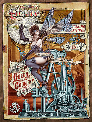 Steampunk Empire, Alchemy, Gothic, Fairy, Engine, Medium Metal Tin Sign, Picture