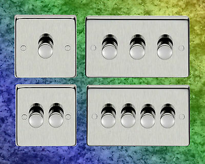 400W Satin Stainless Steel Dimmer Switch, 1 2 3 4 Gang. Money Back Guarantee