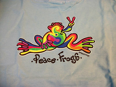 Peace Frogs Lt Blue Retro Toddler 2T T-Shirt