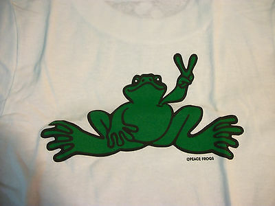 Peace Frogs White Green Frog Toddler 2T T-Shirt