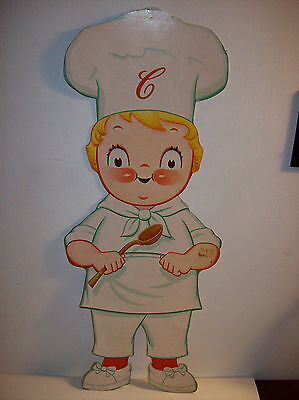 """Campbells Soup Kid Chef Cardboard Litho Wall Mount Display Character 25"""""""