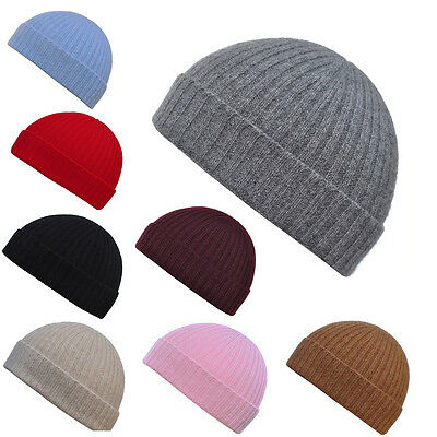 Mens Womens Luxury 100% Cashmere Ribbed Beanie Hat,Seamless hats Made in England